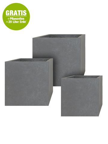 Fiberglas Pflanzkübel 3er Set Cube in grau