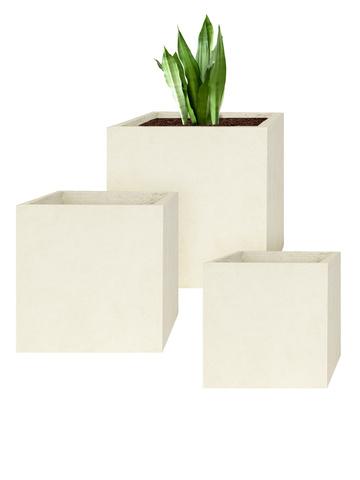 3er Set Pflanzkübel Cube in Farbe sand
