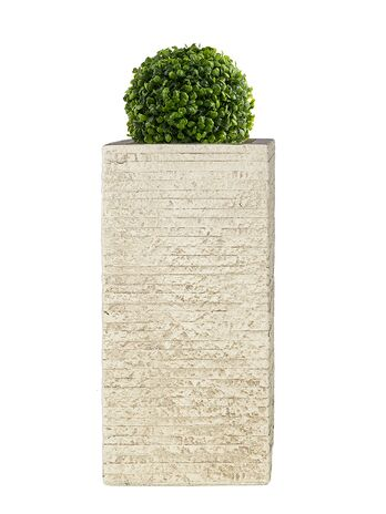 Fiberglas Pflanzkübel TOWER in Antik Sand 60cm Höhe